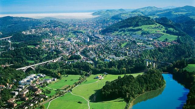 Luftaufnahme von St.Gallen bis zum Bodensee