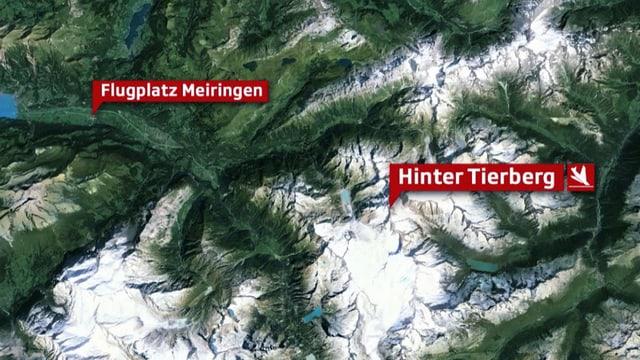 Karte mit dem Flugplatz Meiringen und der Absturzstelle Hinter Tierberg