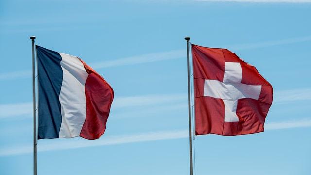 Purtret da duas banderas, ina svizra ed ina franzosa.