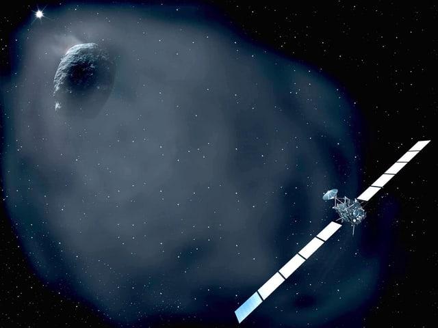 Die Animation der Europäischen Raumfahrbehörde zeigt Komet Tschuri mit einem Schweif – begleitet von Rosetta.