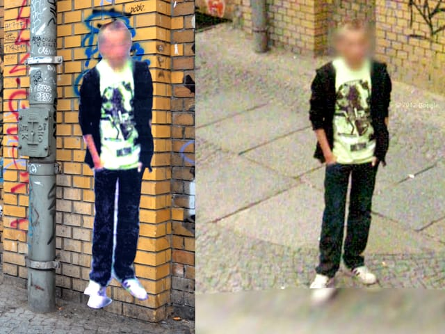 Ein Kunstwerk von Paolo Cirio. Man sieht einen Jungen auf einem Google-Street-View-Foto. Dieses Foto ist auch auf Papier ausgedruckt.