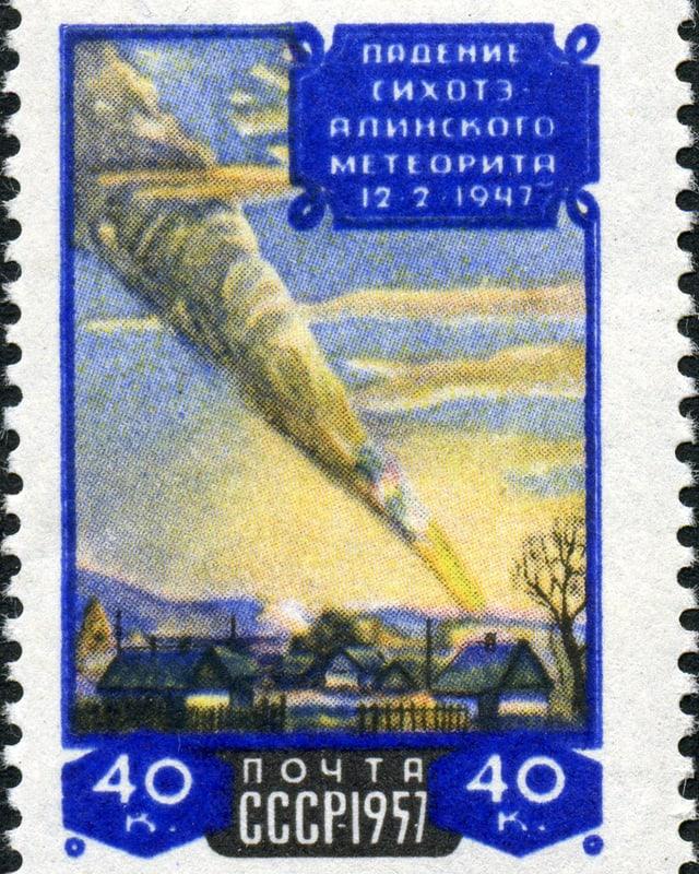 Die Briefmarke zum Meteoriten Sikhote-Alin zeigte zehn Jahre nach dem Ereignis den Einschlag als Illustration.