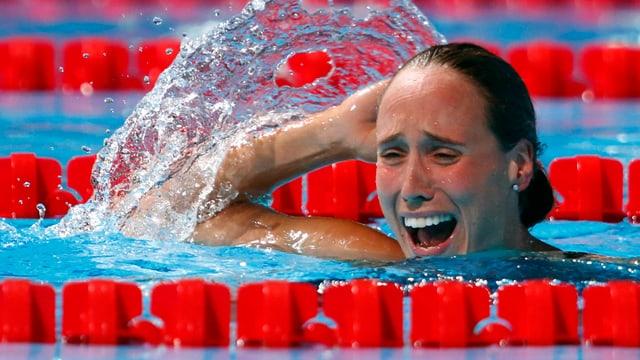 Rikke Möller Pedersen nach ihrem Weltrekord.
