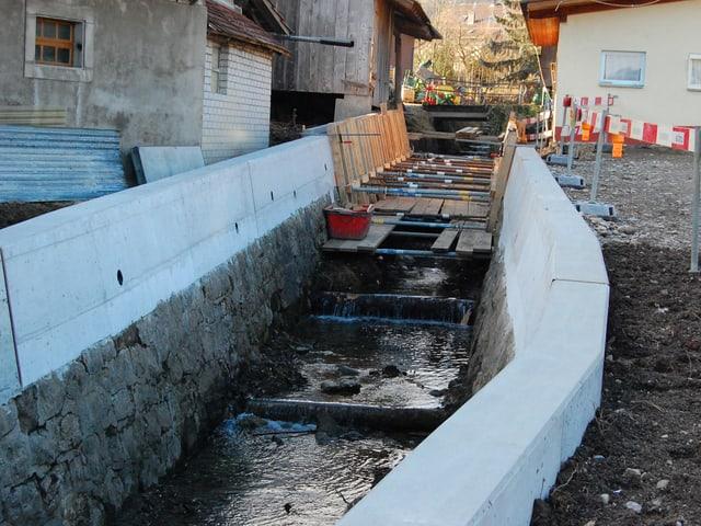 Bachverbauung in der Gemeinde Wattenwil.