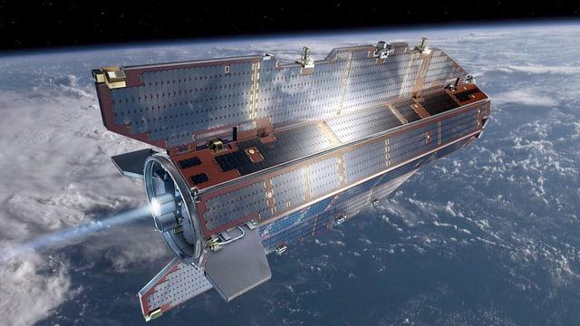 Satellit GOCE im All mit der Erde im Hintergrund