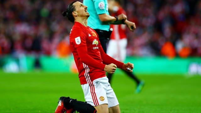 Ibrahimovic auf den Knien.