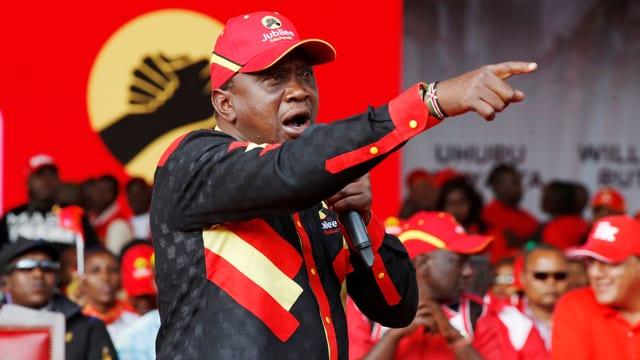 Der amtierende Präsident Kenyas, Uhuru Kenyatta, während einer Wahlkampf-Veranstaltung am 4. August in Nairobi.