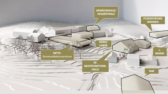 Eine Visualisierung der Erweiterung des Forschungsinstitutes. Auf dem Bild ist in Olivgrün und Grau dargestellt, wie der Bau einmal aussehen soll.