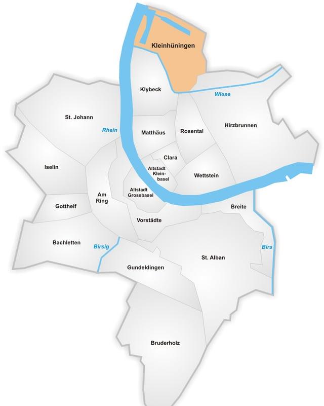 Plan der Stadt Basel, aufgeteilt in Quartiere: Der markierte Bereich zeigt ganz im Norden der Stadt Kleinhüningen.