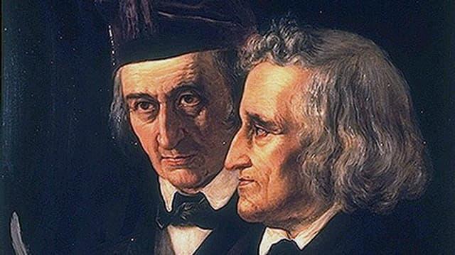 Doppelporträt der Brüder Jacob (links) und Wilhelm Grimm in einem Ölgemälde von 1855.