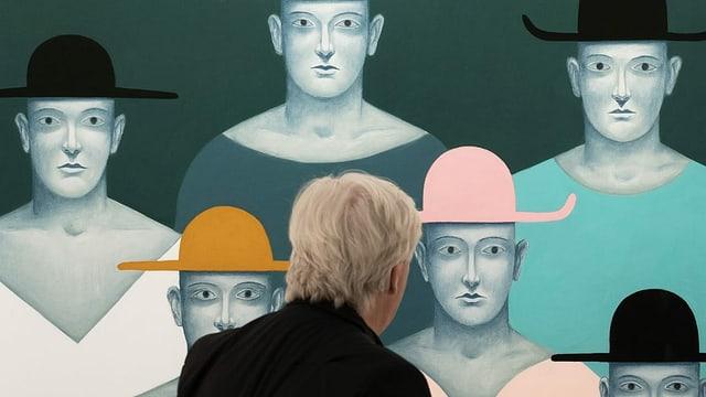 Kunstwerk, auf dem Menschen mit Hüten abgebildet sind.
