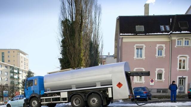 Lastwagen mit Heizöl.