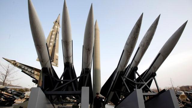 US-Bodenabwehrraketen in einem südkoreanischen Museum.