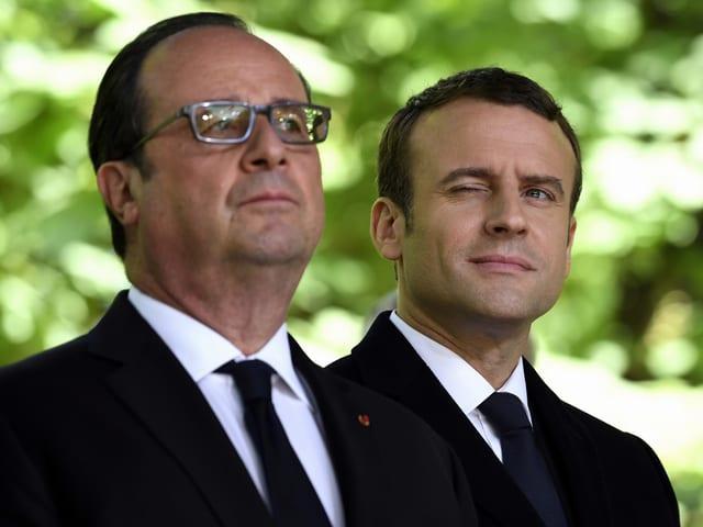 François Hollande und Emmanuel Macron im Porträt.