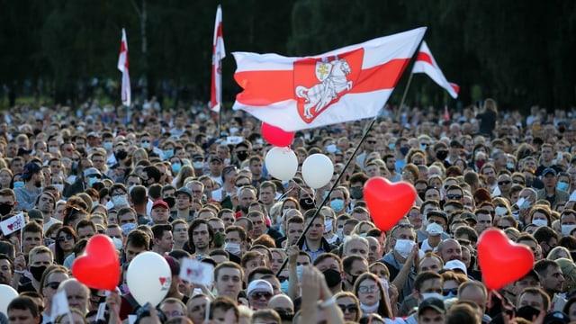 Anhänger von Tichanowskaja in Minsk, 30.07.2020
