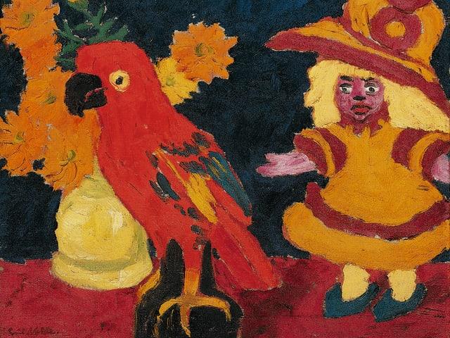 Ein Gemälde mit einem roten Papagei und einer Puppe.