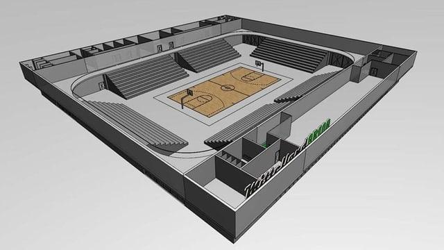 Plan eines Stadions. In der Mitte ein Basketballfeld.