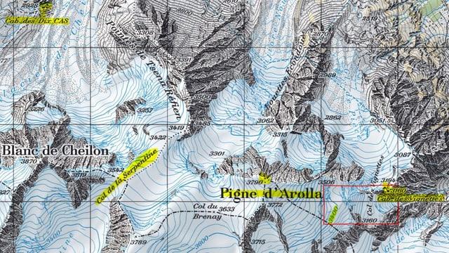 Kartenausschnitt der Region um den Pigne d'Arolla.