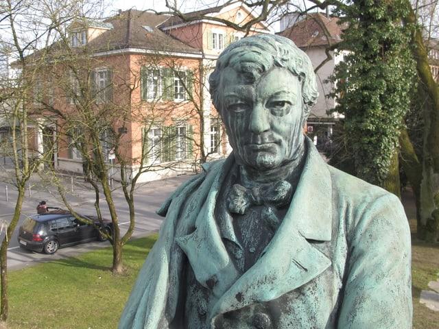 Statue von Zschokke im Stadtpark.