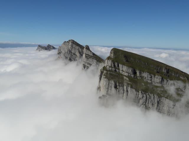 Rund um liegt Nebel nur drei Berggipfel ragen hervor.