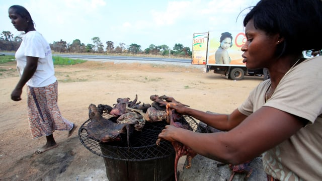 Eine Frau grillt Nagetiere.