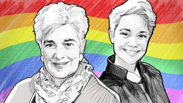 Eine Illustration zeigt Priscilla Schwendimann und Barbara Kückelmann.