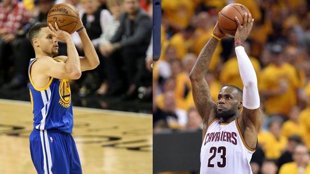Ballstreichler Stephen Curry und Kraftpaket LeBron James.