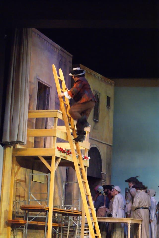 Mann auf Leiter, die an Balkon angelehnt ist.
