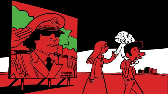 Ein Ausschnitt aus dem Cover von «L'arabe du futur». Saddam Hussein ziert ein Poster. Vor dem Plakat geht ein Paar. Der Mann trägt ein Kind auf den Schultern.
