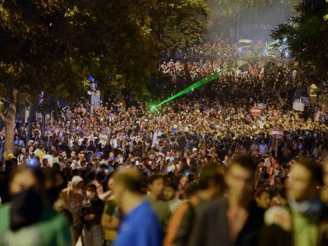 Tausende Demonstranten in einer Allee.