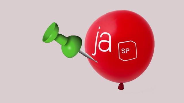 Eine grüne Nadel sticht in einen roten Ballon mit SP Logo