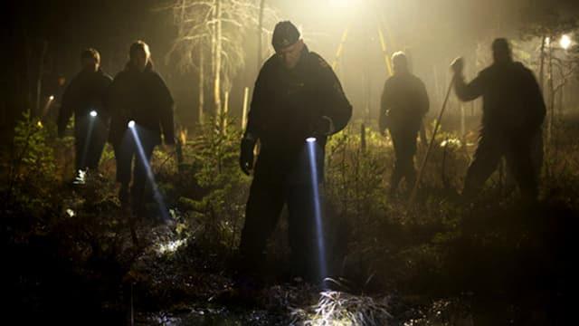Männer suchen mit Taschenlampen ein Sumpfgebiet ab.