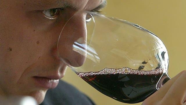 Ein Mann degustiert Rotwein. Er riecht mit seiner Nase am Glas.