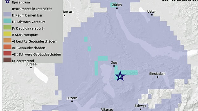 Karte mit der Ausbreitung des Erdbebens bei Zug