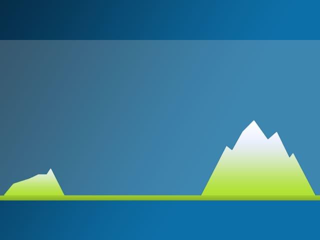 Grafik mit einem kleine Berg linkt (Jura) und einem hohen Berg rechts (Alpen). Dazwischen ist im Querschnitt eine Ebene, das Mittelland zu sehen.