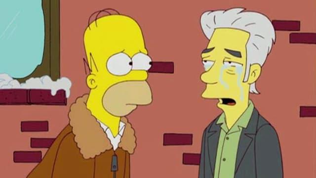 Ein Ausschnitt aus den Simpsons. Jim Jarmusch weint. Homer schaut ihn traurig an.