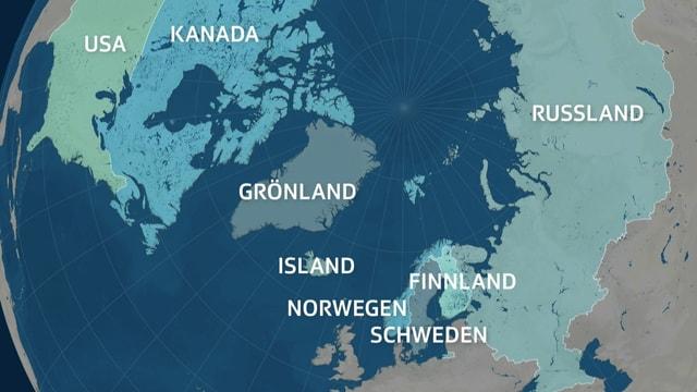 Karte mit Arktis-Staaten