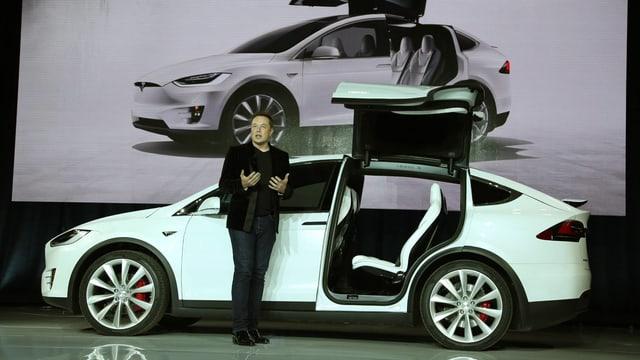 Elon Musk vor einem Tesla.