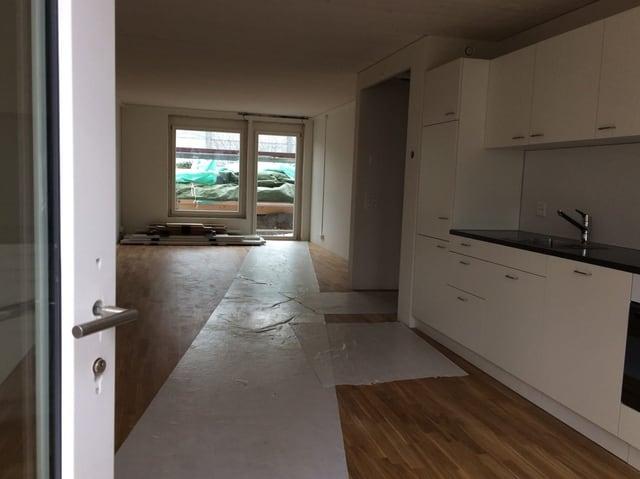 Die Küche ist bereits eingebaut, wenn die Module kommen.