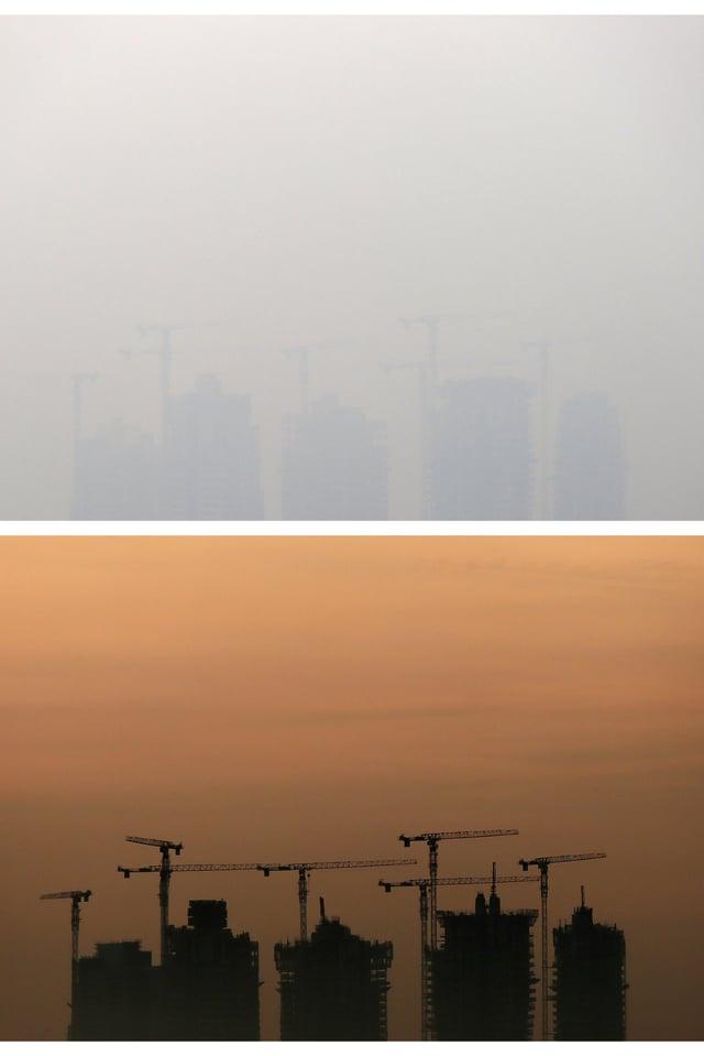 Die beiden Bilder zeigen den Unterschied: Das obere Bild stammt vom 18. Juni 2013 um sieben Uhr morgens (keine Sicht), das untere wurde zur gleichen Zeit vor drei Tagen aufgenommen (Morgendämmerung).