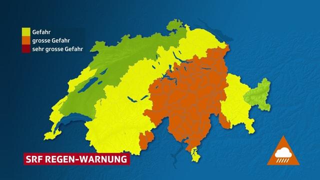 Die Schweizerkarte ist je nach Gefahrenstufen unterschiedlich eingefärbt. Orange für grosse Gefahr, Gelb für mittlere Gefahr.