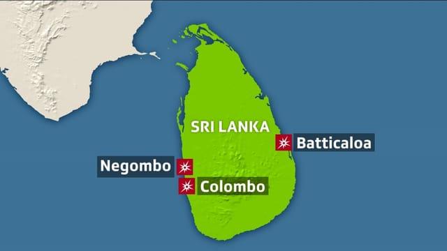 Karte von Sri Lanka.