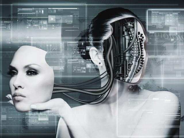 Eine Frau hält eine Art Maske in der Hand, die aber ihr eigenes Gesicht ist. Es ist verbunden mit Kabeln, die aus ihrem Kopf kommen.