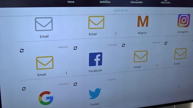 Bildschirm mit Möglichkeiten, seine Accounts zu verlinken