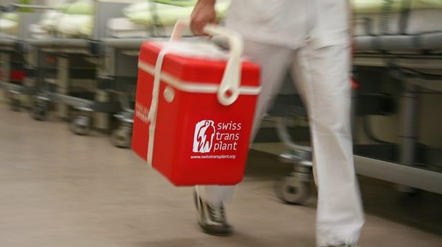Person mit einer Kühlbox in eine Spitalflur unterwegs.