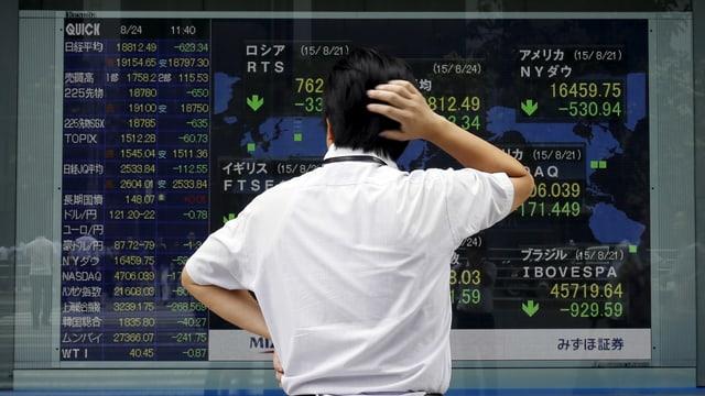 Ein Mann in weissem Hemd steht vor einer Börsenkurstafel und kratzt sich am Hinterkopf.
