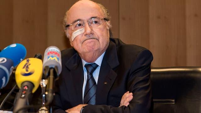 Sepp Blatter während seiner Pressekonferenz am 21. Dezember 2015.