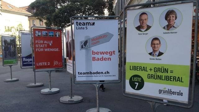 Wahlplakate in Baden