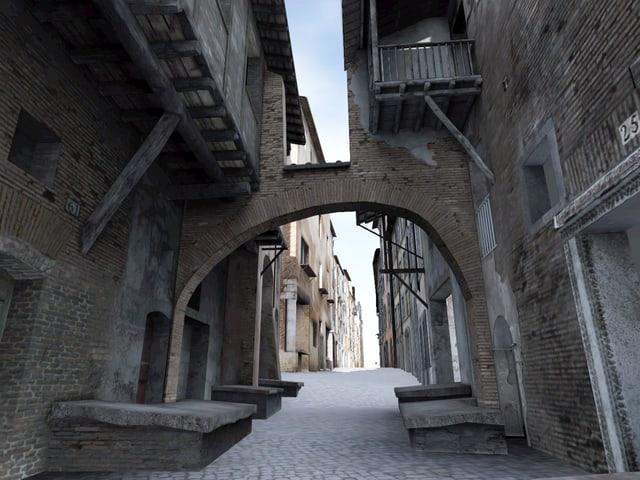 Ein enge Gasse in einem Ghetto in Rom auf einer Animation.