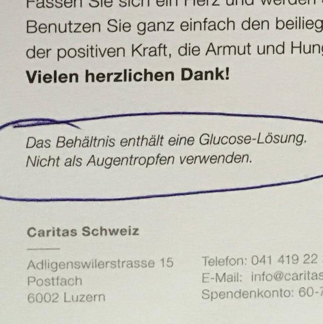 Ausschnitt aus einem Brief mit Hinweis, dass man die Tropfen nicht als Augentropfen verwenden sollte.